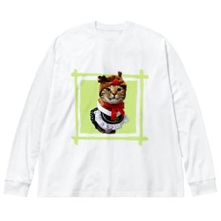 猫プリンちゃんクリスマスver Big silhouette long sleeve T-shirts