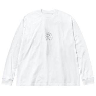 つま先ちゃん Big silhouette long sleeve T-shirts