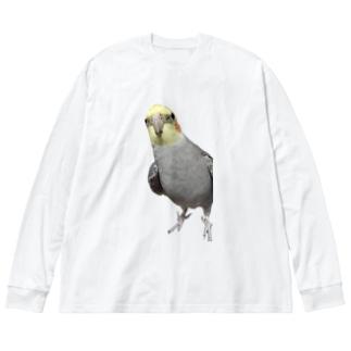 オカメインコのベリー Big silhouette long sleeve T-shirts