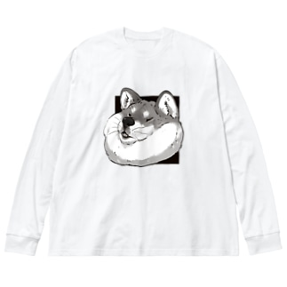 YouStoreの挟まる柴犬 Big silhouette long sleeve T-shirts