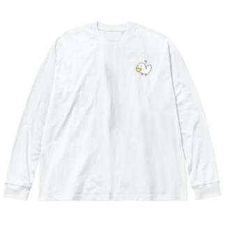 疑問符とアヒル Big silhouette long sleeve T-shirts