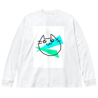 らくがきねこ Big silhouette long sleeve T-shirts