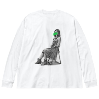 green Big silhouette long sleeve T-shirts