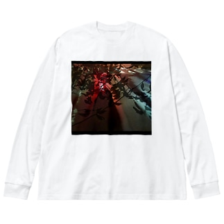 深夜の信号に葉影 Big silhouette long sleeve T-shirts