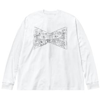 カオスなリボン Big silhouette long sleeve T-shirts