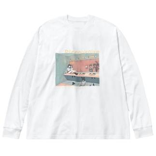 乖離 Big silhouette long sleeve T-shirts