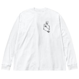 ガイコツ Big silhouette long sleeve T-shirts