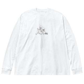 しめびびぶらざーず。withおとんおかん Big silhouette long sleeve T-shirts