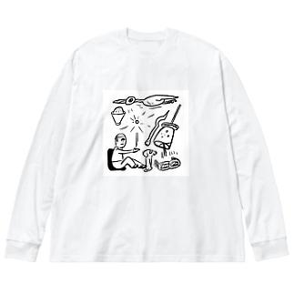 aizaknewton_aizawaの集中力と鳥のVR Big silhouette long sleeve T-shirts