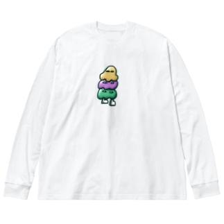 アイスおばけ Big silhouette long sleeve T-shirts