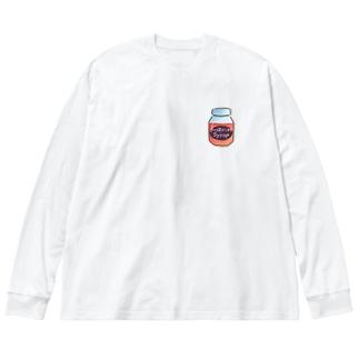 花梨シロップbottle(茜色) Big silhouette long sleeve T-shirts