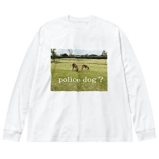 イタグレ police dog? Big Silhouette Long Sleeve T-Shirt