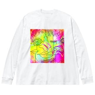 らくがき。 Big silhouette long sleeve T-shirts