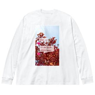 紅葉を見に行こうよう。 Big silhouette long sleeve T-shirts