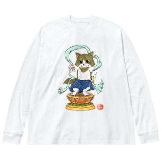 金剛猫士像 Big silhouette long sleeve T-shirts