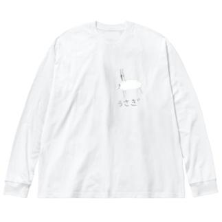 息子作 うさぎ Big silhouette long sleeve T-shirts