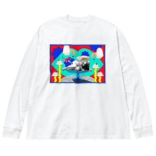 sad cake(Ver.2) Big silhouette long sleeve T-shirts