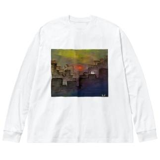 不確 Big silhouette long sleeve T-shirts