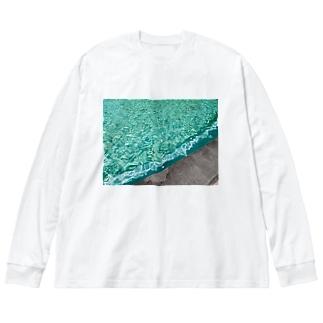 抽象画家ShizukiKagawaのみどりのふんすい Big silhouette long sleeve T-shirts
