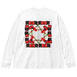 庭のニワトリ Big silhouette long sleeve T-shirts