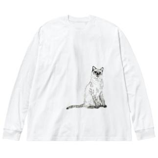シャムネコ Big silhouette long sleeve T-shirts
