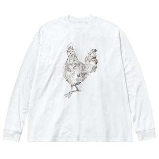 ニワトリ Big silhouette long sleeve T-shirts