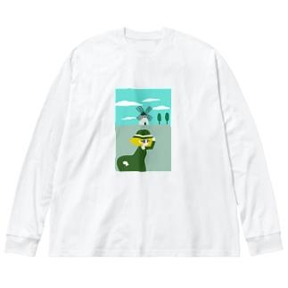 風車と女の子 Big silhouette long sleeve T-shirts
