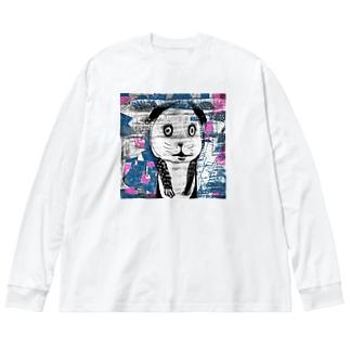 パパパパパンダ。 Big silhouette long sleeve T-shirts