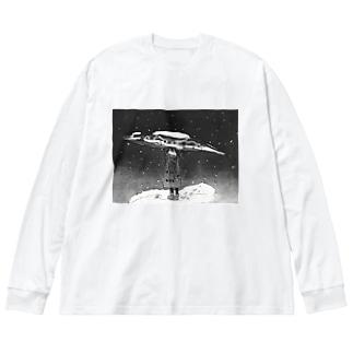 さんま Big silhouette long sleeve T-shirts