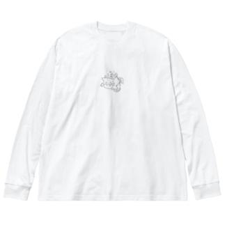 牛年かよ!ぷんぷん! Big silhouette long sleeve T-shirts