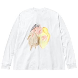 鼻で応急処置 Big silhouette long sleeve T-shirts
