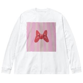 ピンクストライプとリボン Big silhouette long sleeve T-shirts