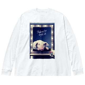 メイクするブ! Big silhouette long sleeve T-shirts