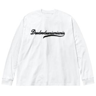 筆記体ロゴ-black- Big silhouette long sleeve T-shirts