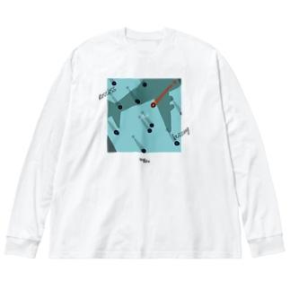 浮足と喧騒 Big silhouette long sleeve T-shirts