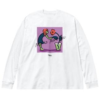 どうぞよろしく Big silhouette long sleeve T-shirts