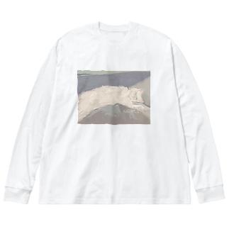 ねこち Big silhouette long sleeve T-shirts