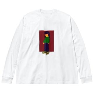 ツユクサチャン Big silhouette long sleeve T-shirts
