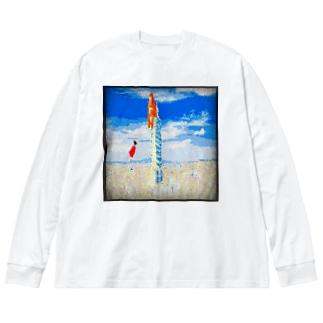 キンシコウは雲に乗ろうとする Big silhouette long sleeve T-shirts