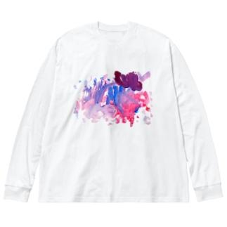 003:ゆうやけ Big silhouette long sleeve T-shirts