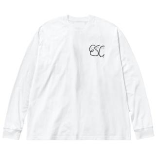 Escくん(くらしっく:白) Big silhouette long sleeve T-shirts