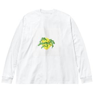 ゆず Big silhouette long sleeve T-shirts