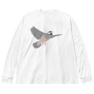 空を飛ぶ文鳥 1 Big silhouette long sleeve T-shirts