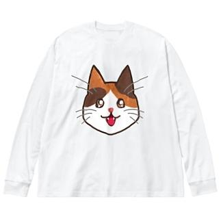 三毛猫ちゃん Big silhouette long sleeve T-shirts