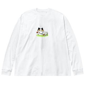 草刈り猫 Big silhouette long sleeve T-shirts