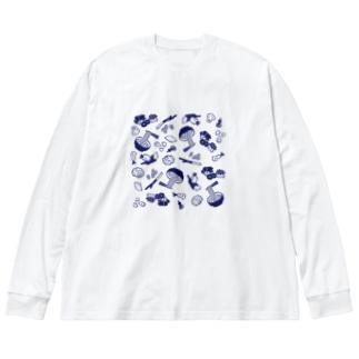 WEBYAのうどん屋にありそうなグッズ Big silhouette long sleeve T-shirts