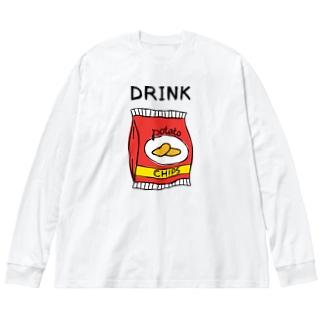 ポテチは飲み物 Big silhouette long sleeve T-shirts