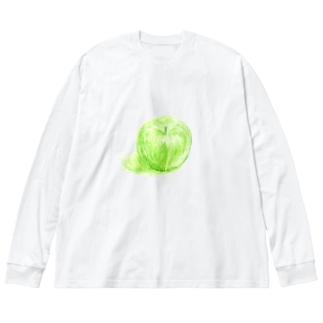 ノートに描いたリンゴ Big silhouette long sleeve T-shirts