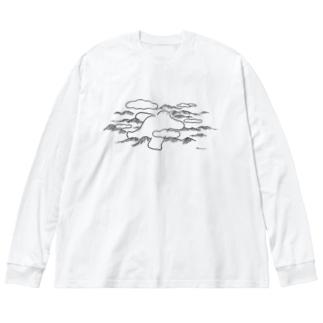 昼寝するだいだらぼっち Big silhouette long sleeve T-shirts