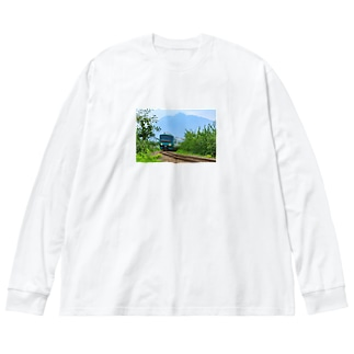五能線(岩木山) Big silhouette long sleeve T-shirts